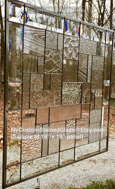 Stained Glass Panel Patchwork Window Clear Textured Frosted