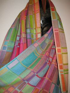 THIS SHAWL IS A CUSTOM ORDER AND HAS BEEN SOLD - I can create a similar one especially for you - just convo me to discuss details BUT please dont pay through this listing - I will make a listing for you once we have sorted out your own specific requirements - thank you;  This eyecatching shawl is woven using many different coloured hand dyed silks in a double weave which means that the shawl is double sided - with a different effect on each side. I used quite fine silks, woven in two layers…