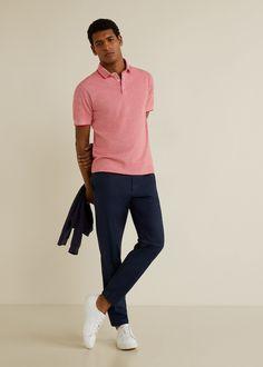 Contrast-edge cotton polo shirt - Man | Mango Man Hungary Navy Chinos, Navy Pants, Formal Men Outfit, Casual Outfits, Polo Outfit, Polo Neck, Polo Shirt, Normcore, Mens Fashion