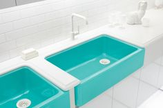 coloured sinks turquoise