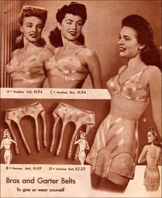 'Bras and Garter Belts: to give or wear yourself' Gorgeous original 1940s lingerie advert.