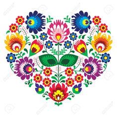 Coeur Broderie Olk De Polonais D'art D'art Avec Des Fleurs - Lowickie Wzory Clip Art Libres De Droits , Vecteurs Et Illustration. Image 29119380.