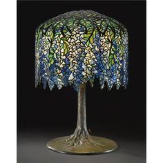 "Louis Comfory Tiffany (1848-1933) -""Wisteria""Table Lamp. Leaded Glass & Bronze."