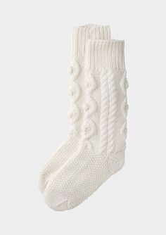 ARAN KNIT HOUSE SOCK | TOAST