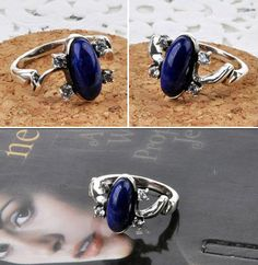 Min.order is $10(mix order) Top Quality! Fashion Vampire Heroine Elena Rings Rhinestone & Lapis Lazuli White K Plated Ring SR119 $9.99