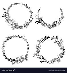 Hand drawn set of floral wreaths Royalty Free Vector Image , Floral Embroidery Patterns, Embroidery Flowers Pattern, Simple Embroidery, Hand Embroidery Designs, Embroidery Art, Embroidery Stitches, Vintage Stickers, Flower Pattern Design, Fleurs Diy