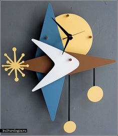 Креативные часы Modern Retro clock Mid Century Art, Mid Century Design, Modern Retro, Retro Art, Wall Watch, Retro Clock, Modern Clock, Wall Clock Design, Clock Art