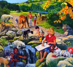What we are so looking forward to! Life In Paradise, Paradise On Earth, Indian Art Paintings, Animal Paintings, Jehovah Witness Bible, Bible Family Tree, Jehovah Paradise, Heaven Is Real, Dallas Zoo
