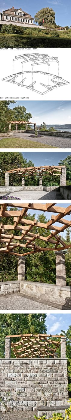Pergola Villa Hatt The task of the student project was to design a pergola at the south end of the terrace.  The students designed an inner reciprocal frame lattice using the digital instrument, and enhanced it on the principle of the Leonardo-da-Vinci bridge.