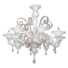 Original 8 lights Venetian Glass Chandelier