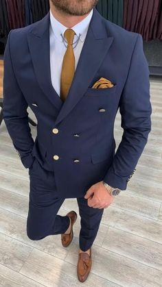 Blue Suit Men, Navy Blue Suit, Black Suits, Mens Fashion Blazer, Suit Fashion, Double Breasted Suit Men, Slim Fit Suits, Tuxedo Suit, Fitted Suit
