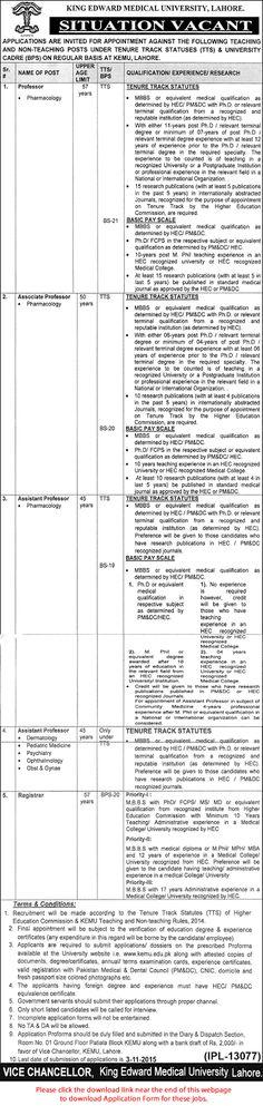 Jobs in Pakistan: King Edward Medical University (KEMU) Lahore Jobs ...