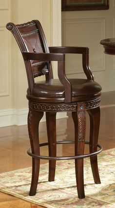 Steve Silver Furniture Antoinette Bar Height Chair in Multi-Step Rich Cherry | Wayfair