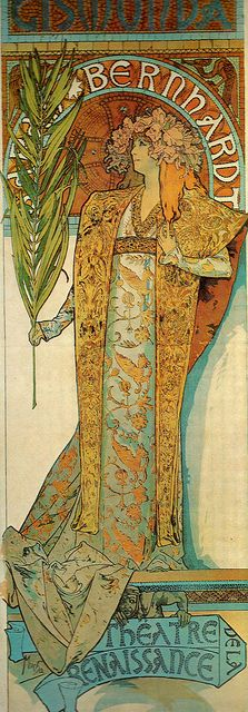 "Alphonse Mucha's poster of Sarah Bernhardt in ""Gismonda"" - she gave him his first commission on 24th December 1894 which was designed, printed and first displayed on 1st January 1895"
