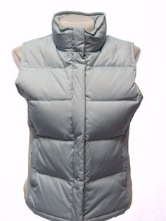 GAP Ladies Down And Feather Filled Light Blue Winter Puffer Vest XS #GAP