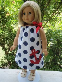 American Girl Doll Clothes Pillowcase Dress Nautical Patriotic Red White Blue SewSoNancy Boutique. $10.00, via Etsy.
