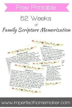 52 Weeks of Family Scripture Memorization - Free Printable Memory Verse Cards | Christian Homemaking