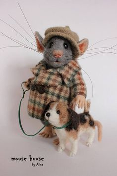 Mouse with Dog Felted Mouse Soft Sculpture Felted Animal