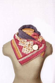 Pink and Yellow Kantha Cloth Neckwarmer