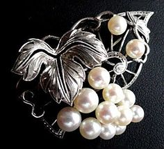 Mikimoto Sterling Cultured Pearl Grapes & Leaves Brooch