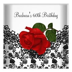 60th Birthday Damask Lace Black White RED Rose Personalized Invitation