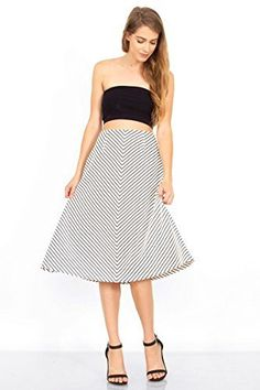 The Sugarlips Rather Be Stripe Skirt is a black and white high waist midi skirt. Price : $62.00 #MyLuluCloset #Sugarlips #Skirts