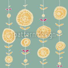 Hochqualitative Vektor-Muster auf patterndesigns.com - Blumenkette-Blau-&-Gelb, designed by Christina Wasenegger