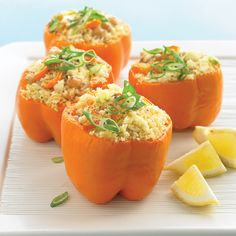 Slow-Cooker Greek Stuffed Peppers - Martha Stewart Recipes Vegetarian recipe, using cannellini beans, feta, and couscous Crock Pot Recipes, Vegetarian Crockpot Recipes, Healthy Slow Cooker, Best Slow Cooker, Crock Pot Slow Cooker, Crock Pot Cooking, Slow Cooker Recipes, New Recipes, Cooking Recipes
