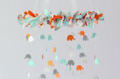 Elephant Nursery Mobile in Aqua, Orange, Gray & White- Nursery Mobile Decor, Baby Shower Gift by LovebugLullabies on Etsy https://www.etsy.com/listing/128752287/elephant-nursery-mobile-in-aqua-orange