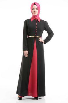 Nayla Collection - Kemerli Siyah Elbise