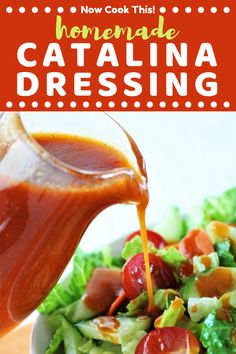 Homemade Catalina Dressing is sweet, tangy, and so quick and easy to make at home! All you need is 5 minutes and a few simple ingredients. It's better than any store-bought dressing! Get the recipe and give it a try! Catalina Dressing Recipes, Catalina Salad Dressing, Salad Dressing Recipes, Salad Dressings, Kale Recipes, Avocado Recipes, Cooking Recipes, Healthy Recipes, Cooking Tips