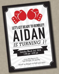 Boxing Birthday Invitation / UFC / First by JustAddPaperDesigns