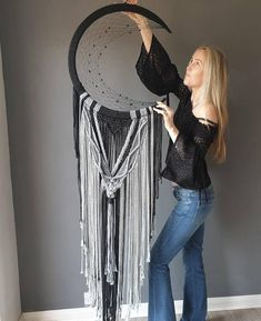 Large black and grey mooncatcher. With stone Makkala beauty black Macrame Art, Macrame Projects, Large Black, Black And Grey, Home Crafts, Arts And Crafts, Moon Dreamcatcher, Dreamcatchers, Dream Catcher Craft