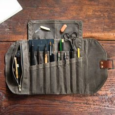 online shopping for The Sendak Mini Artist Roll from top store. See new offer for The Sendak Mini Artist Roll Artisanats Denim, Crea Cuir, Waxed Canvas, Vegetable Tanned Leather, Leather Tooling, Leather Roll, Zipper Pouch, Sewing Projects, Compass Tattoo