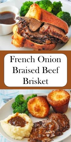 >> French Onion Braised Beef Brisket - Delisious - Appetizers for party Best Dinner Recipes, Entree Recipes, Side Recipes, Onion Recipes, Meat Recipes, Cooking Recipes, Recipies, Beef Dishes, Food Dishes