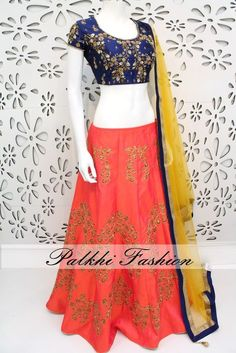 PalkhiFashion Exclusive Full flair Peach Designer Hand worked Lehenga with Hand Worked Blouse and Duppata.
