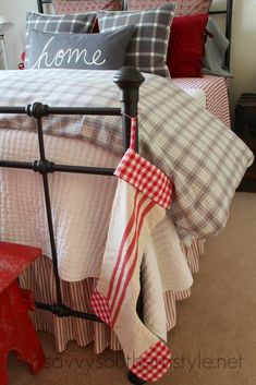 Farmhouse Guest Room Christmas, flannel bedding, Pottery Barn, LL Bean, h & m, gray, red, plaid, buffalo checks, vintage