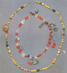 Strings of beads from Birka. page 118  Inner string of beads are made of imported crystal and carnelian. viking