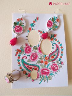 Paisley&Flowers | handpainted paper earrings and ring | Paper Leaf
