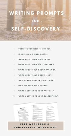 Free Writing Prompts For Self Discovery | Free Resource | Journaling Ideas | Finding Yourself | Personal Development | Ebook | Printable | Wholehearted Woman