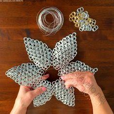Aluminum Can Crafts, Metal Crafts, Recycled Crafts, Pop Can Crafts, Crafts To Sell, Arts And Crafts, Bottle Cap Art, Bottle Cap Crafts, Soda Tab Crafts