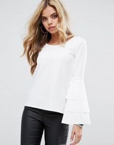 Boohoo Double Frill Sleeve Top