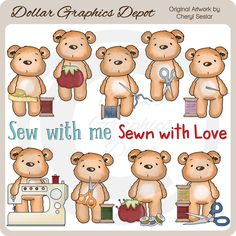 Pudgy Bear Loves to Sew - Clip Art - *DGD Exclusive* - Only $1.00 at DollarGraphicsDepot.com : Great for printable crafts, scrapbook pages, web graphics, greeting cards, gift boxes / bags, gift tags / labels, quilt / pillow blocks, embroidery patterns, cross-stitch designs, iron-on transfers, hang tags, bag toppers, sewing labels, and much more!