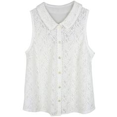 Peter Pan Fantasy of Lace Top (93 BRL) ❤ liked on Polyvore featuring tops, shirts, blouses, tank tops, lacy white top, white peter pan collar shirt, white top, peter pan collar top and white lace top