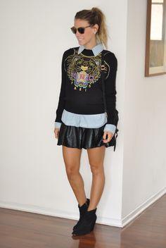 Meu Look: Em Casa Tricot Saia PS1 Meu Look Casual Meu Look Kenzo Boots meu look glam4you