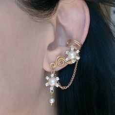 24K Gold Plated Ear Cuff Gold Crystal Flower by ElectriccDreams