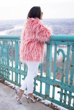LovePlayingDressup_PetiteBlogger_NehaGandhi_ShaggyJacket_PhotoShoot_Boston_Blogger_IndianBlogger_Urbanoutfitters_Winterwhites, Distressed Denim, White jeans, Floral pumps, pittsburg photo shoot, rayban aviators