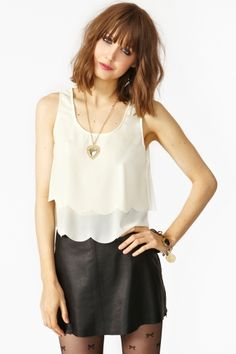 nasty gal. scalloped cutout tank in cream.