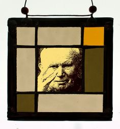 Pope John Paul II, stained glass suncatcher. Available at the Etsy Shop of Stained Glass Elements. Pope John Paul II stained glass, Paus Johannes Paulus II glas in lood, stained glass, suncatcher, glas in lood portret,  Jan Paweł II witraż...