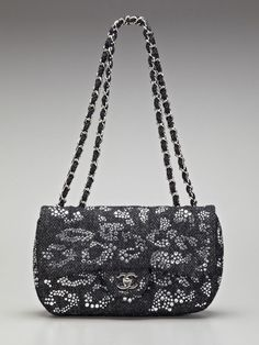 Limited Edition Grey Wool  amp  Swarovski Crystal Quilted Large Classic  2.55 Flap Bag by Chanel 3a0d8560266